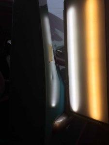 カングーBピラーのヘコミbefore デントリペア・Tact 奈良県奈良市輸入車販売業者様